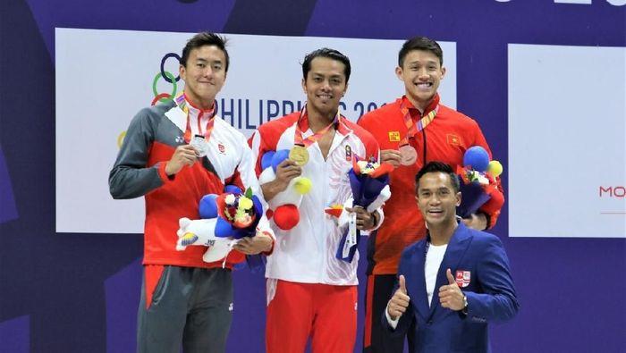 Siman Sudartawa sumbang emas dari renang 50 meter gaya punggung putra di SEA Games 2019. (Foto: dok. PRSI)