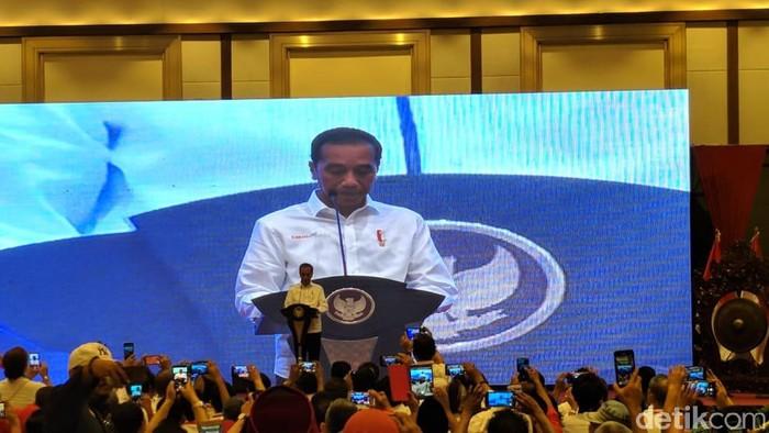 Presiden Joko Widodo (Jokowi) membuka Kongres II relawan Pro Jokowi (Projo) di JIExpo, Kemayoran (Jefrie Nandy Satria/detikcom)