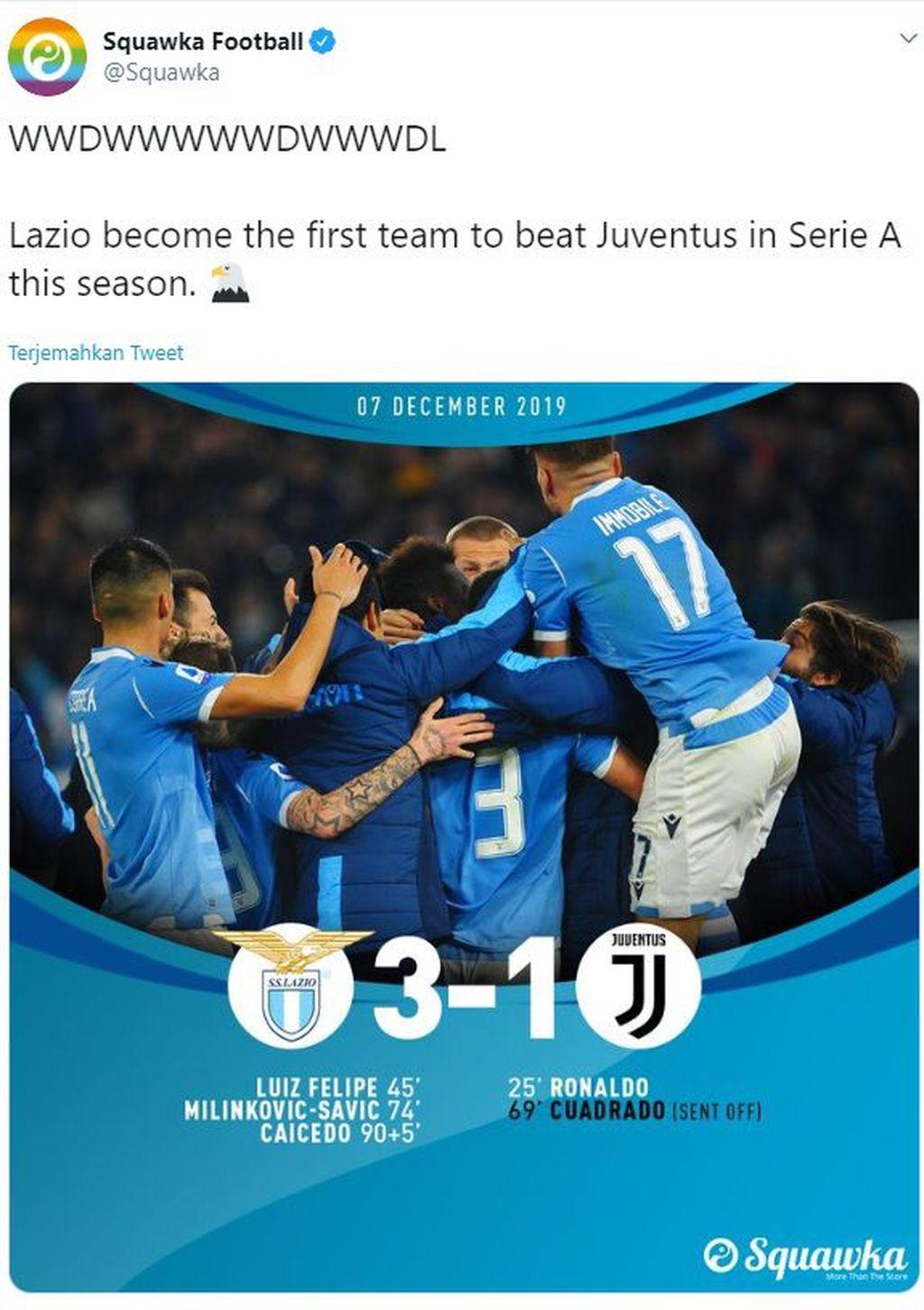 Bermain di kandang sendiri, Lazio tampil percaya diri hingga berhasil mengalahkan Juventus yang punya rekor ciamik di Serie A. Foto: Screenshoot