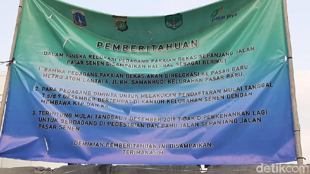 PKL Senen Dipindah ke Pasar Baru Metro Atom, Diberi Sewa Gratis 6 Bulan