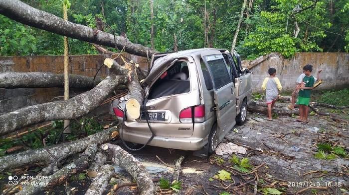 Mobil warga di Sleman tertimpa pohon tumbang akibat angin kencang, Senin (9/12/2019). (Foto: dok. BPBD Sleman)