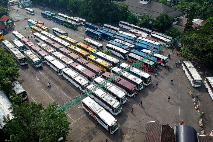 Begini penampakan terkini dari foto udara Terminal Leuwipanjang, Bandung, Jawa Barat, Senin (9/12/2019).