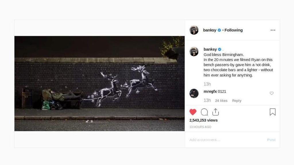 Jelang Natal, Banksy Bikin Mural di Samping Pengemis