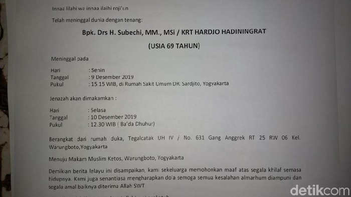 Berita lelayu H Subechi. (Foto: Istimewa)