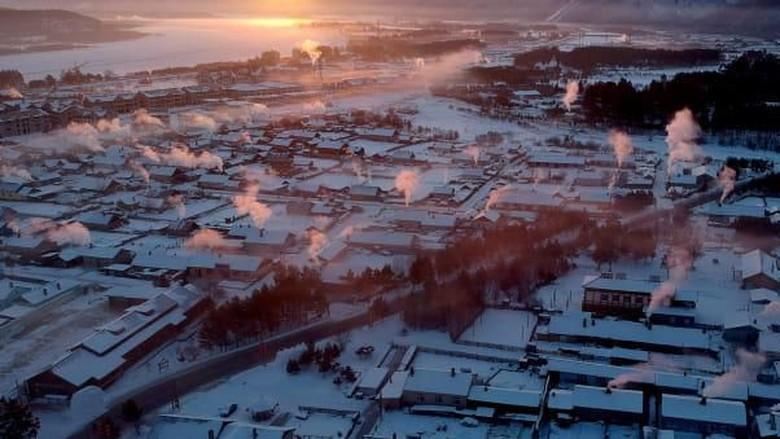 Kota Mohe di China, sepanjang tahunnya musim dingin. (Foto: CNN)