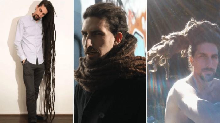Andrew Cozin dengan rambut panjang yang tak pernah dipotong selama 20 tahun. Foto: Istimewa/Metro/Andrew Cozin