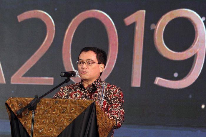 Direktur Utama PT Penjaminan Infrastruktur Indonesia (Persero) M. Wahid Sutopo memberikan sambutan usai menerima panghargaan bergengsi tingkat ASEAN tersebut. Foto: dok. PII