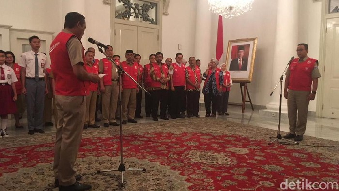 Gubernur DKI Anies Baswedan tunjuk 160 guru dan pelajar untuk jadi duta antikorupsi (Arief Ikhsanudin/detikcom)