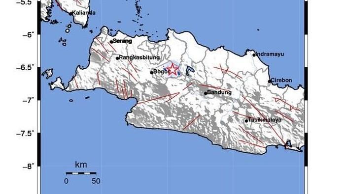 Foto: Lokasi gempa di wilayah Kabupaten Bekasi. (Twitter BMKG)