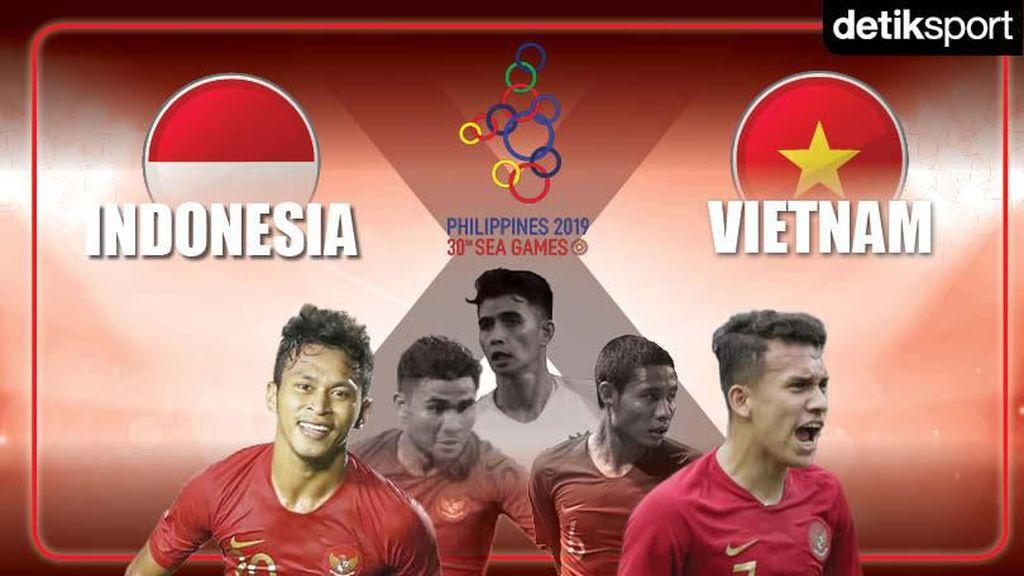 Evan Dimas Cedera, Indonesia Tertinggal 0-1 dari Vietnam di Babak Pertama