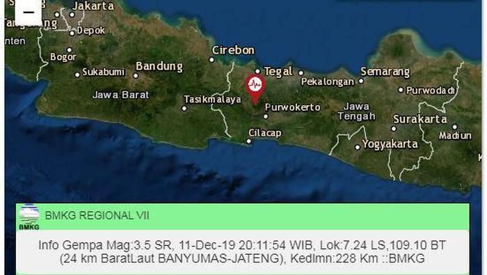 Gempa bumi magnitudo 3,5 SR di Banyumas, Rabu (11/12/2019). (Foto: Dok. BMKG Yogyakarta)