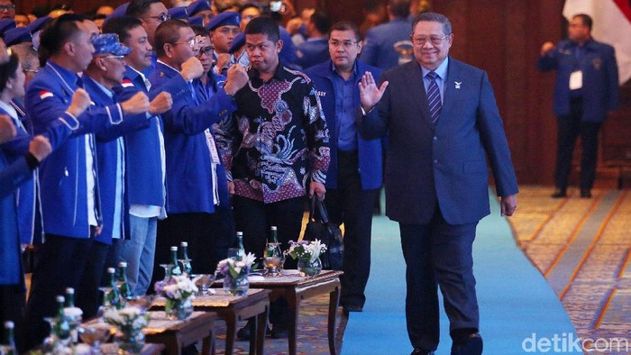 Ketua Umum Partai Demokrat Susilo Bambang Yudhoyono (SBY) menyampaikan pidato refleksi akhir tahun di JCC, Jakarta, Rabu (11/12/2019).