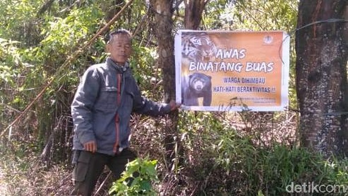 Foto: Petugas pasang rambu waspada binatang buas di Pagaralam (Dok ist)