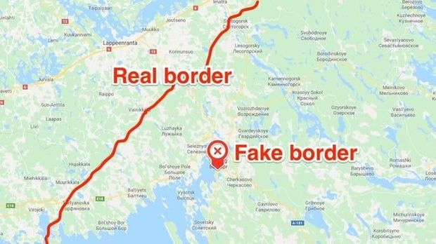 Batas pos perbatasan asli dan palsu