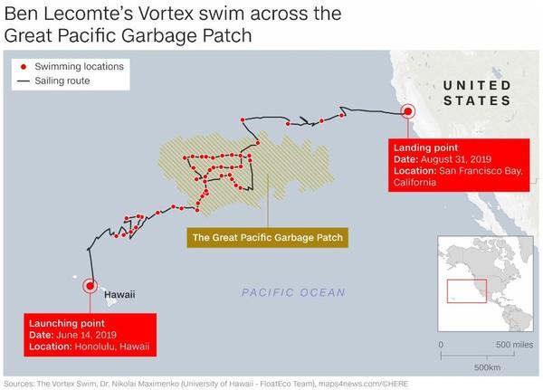 Pria Prancis berusia 52 tahun, telah bermukim di AS sejak 1991. Ia berenang hingga delapan jam dalam satu hari hingga sampai ke Great Pacific Garbage Patch. Total, dia berenang sejauh 300 mil laut (Foto: CNN)