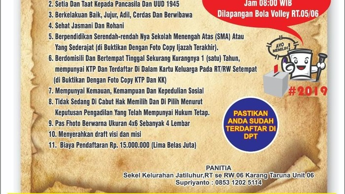 Poster pendaftaran calon Ketua RW di Jatiasih, Bekasi. (Foto: dok.istimewa)