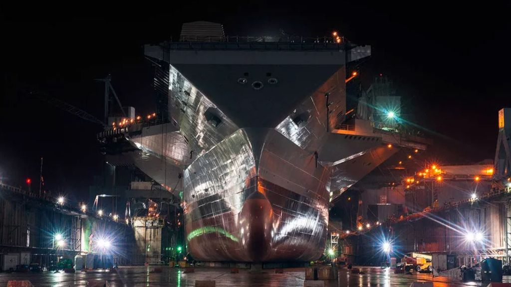 USS Gerald R. Ford merupakan kapal induk memiliki ukurannya lebih besar dari sebelumnya. Foto: Screenshot via U.S. Navy