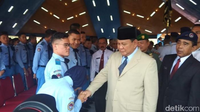 Menhan Prabowo Subianto di SMA Taruna Nusantara (Foto: Eko Susanto-detikcom)