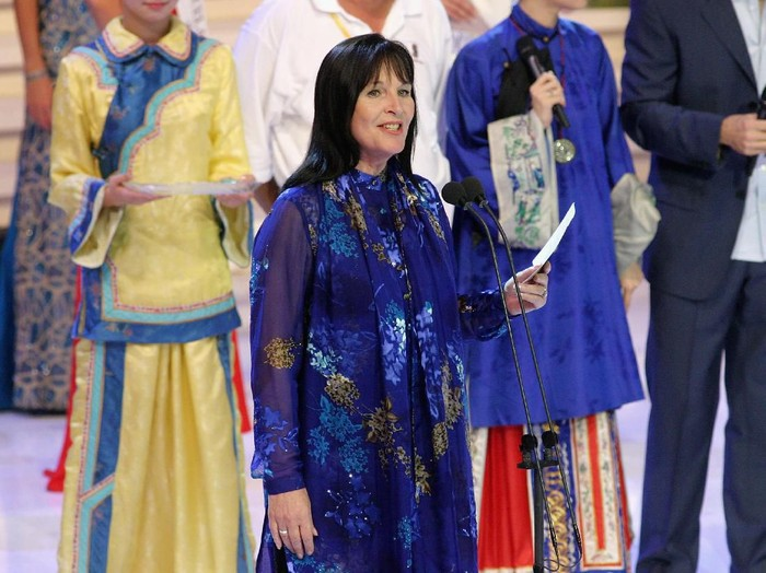 HAINAN, CHINA - DECEMBER 4:  Miss World organizer Julia Morley is seen on stage during final dress rehearsals for Miss World on December 4, 2003 in Hainan, China. The show will be watched by a worldwide TV audience and for the first time is allowing the public to vote for their favourite through its website. (Photo by Getty Images)