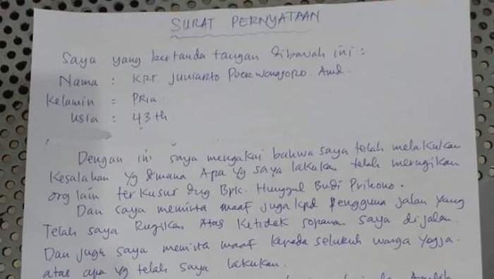 Foto: Surat pernyataan pemobil mewah ugal-ugalan di Prambanan, Sleman (dok.ist)