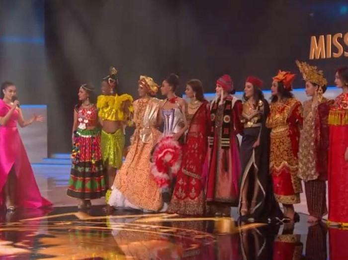 Wakil Indonesia Princes Megonondo Tak Berhasil Menjadi Top 12 Miss World 2019. Foto: Screenshoot Grand Final Miss World 2019