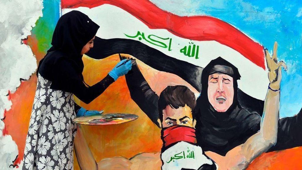 Seniman Perempuan Irak Bangkit, Bikin Mural di Tembok Baghdad