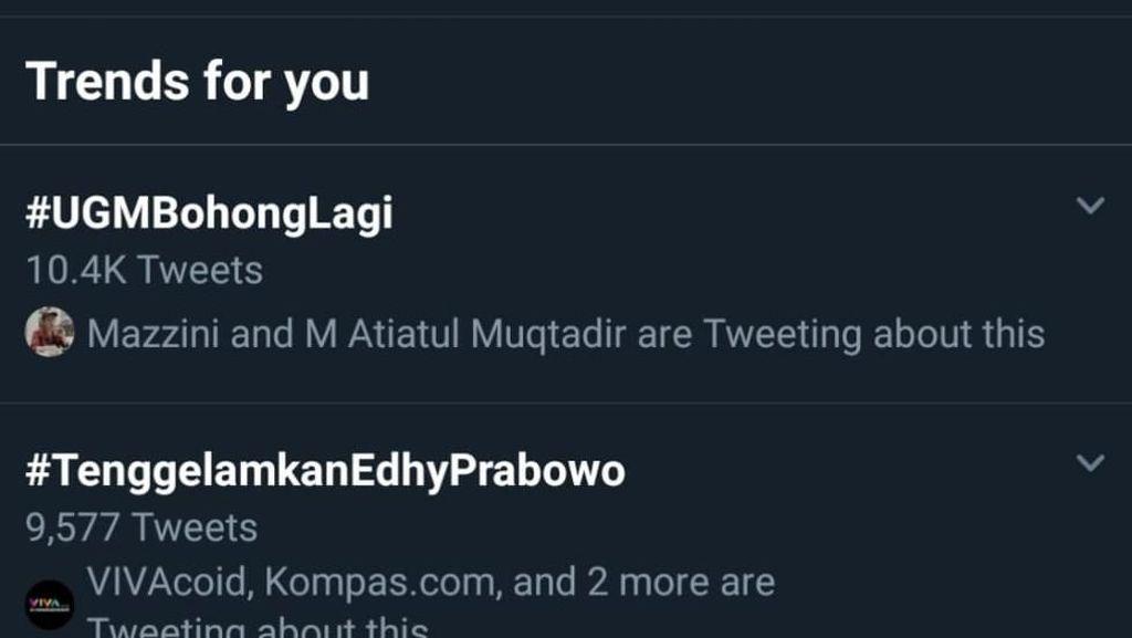 #UGMBohongLagi Trending Terkait Pengesahan Aturan, UGM: Masih Proses