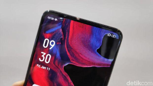 Ponsel prototype Oppo yang punya kamera depan di bawah layar.