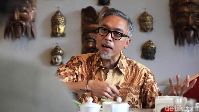 Eks Dirkeu Jiwasraya periode 2008-2018, Hari Prasetyo memberi keterangan pers terkait kasus di perusahaan pelat merah yang pernah ia pimpin.