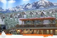 Berbeda dengan Trans Snow World Bekasi yang menyuguhkan pemandangan khas Pegunungan Alpen, Trans Snow World Bintaro mengambil latar Gunung Fuji di Jepang (Grandyos Zafna/detikcom)