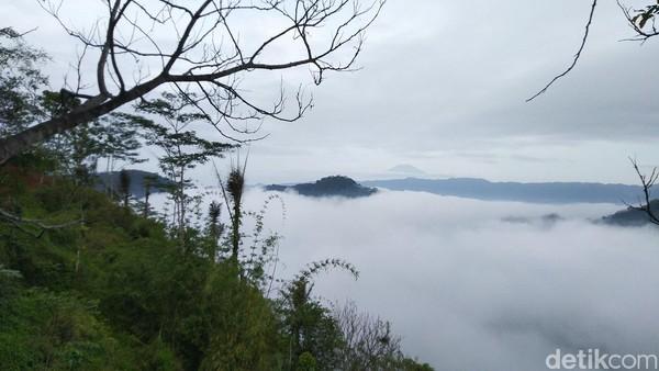 Fenomena lautan awan Puncak Bangku ini merupakan kabut tebal yang menyelimuti hutan dan perkampungan di bawahnya. Pada pukul 08.00 WIB kabut tersebut sedikit demi sedikit menghilang (Foto: Dadang Hermansyah/detikcom)