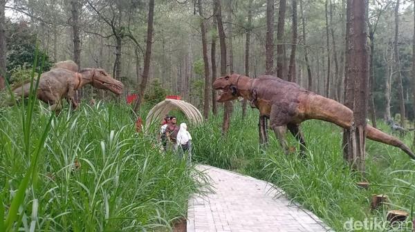 Di tempat wisata alam yang berada di ketinggian 1.389 MDPL di gunungLawutersebut, pengunjung bisaketemu dinosaurus raksasa di antara pohon hutan Pinus yang rindang.(Foto: Sugeng Harianto/detikcom)