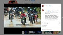 Momen Jokowi Main Lumpur Pakai Motor Custom