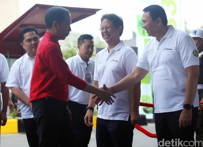 Presiden Joko Widodo meresmikan implementasi Biodiesel 30%. Di peresmian itu Ia didampingi sejumlah tokoh mulai dari Ahok hingga Menteri BUMN Erick Thohir.