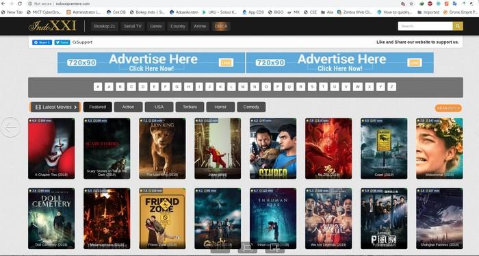 Foto: Screenshoot situs IndoXXI yang sedang diberangus Kominfo