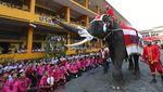 Gajah di Thailand Bagi-bagi Hadiah Natal Kepada Siswa Sekolah