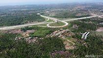 Penampakan Lengangnya Lalu Lintas Tol Lampung dari Udara