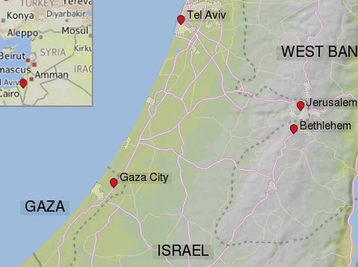 Peta Palestina dan Israel. (CNN)