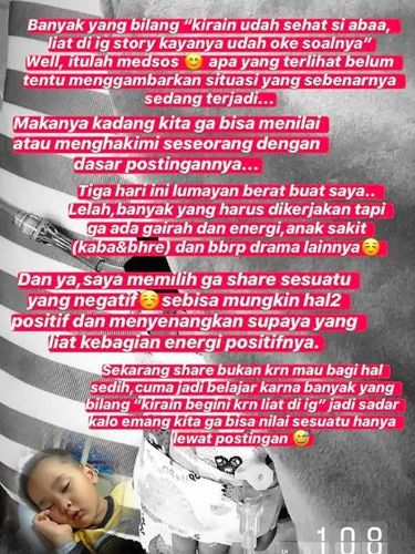 Anak Sakit, Zaskia Mecca Tak Mau Share yang Negatif di Instagram