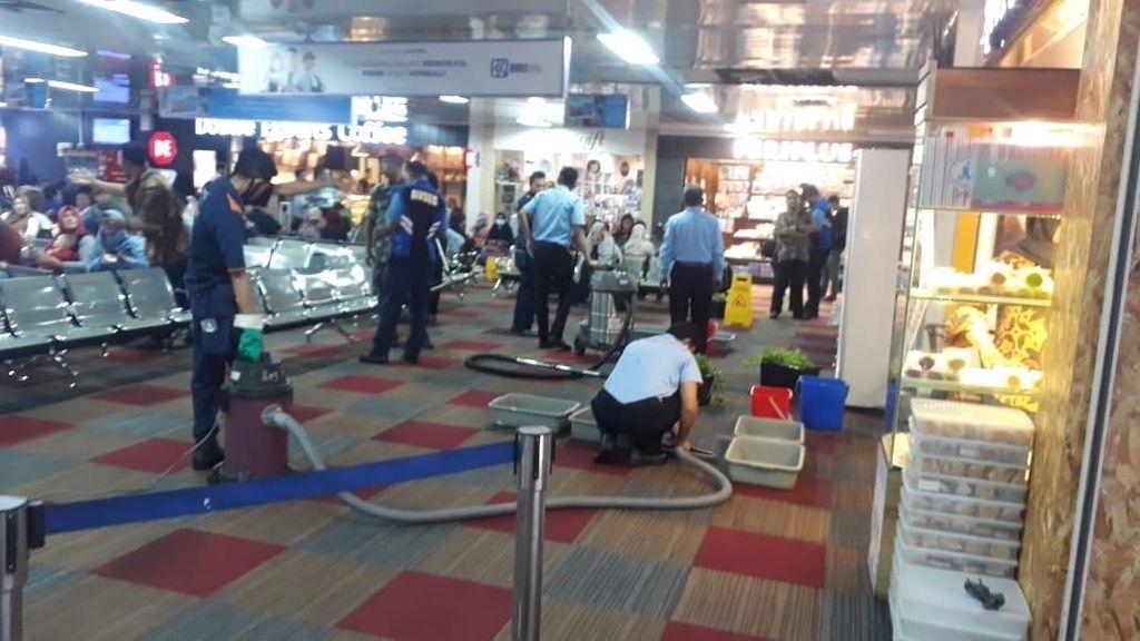 Hujan Deras, Ruang Tunggu Bandara Halim Banjir!