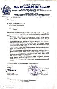 Surat Kepala Sekolah SMK Pelayaran Malayahati