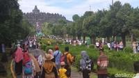 Terkait dengan masa libur Nataru, Manajemen Taman Wisata Candi Borobudur menetapkan masa ramai libur Nataru selama 10 hari (Eko Susanto/detikcom)
