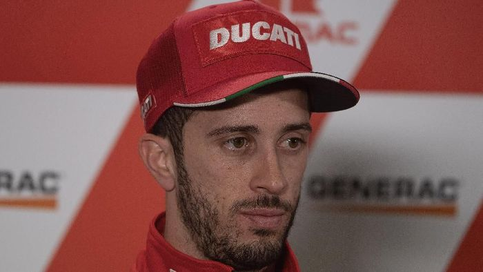 PHILLIP ISLAND, AUSTRALIA - OCTOBER 26: Andrea Dovizioso of Italy and Ducati Team looks on during the press conference at the end of the MotoGP of Australia - Qualifying for the 2019 MotoGP of Australia at Phillip Island Grand Prix Circuit on October 26, 2019 in Phillip Island, Australia. (Photo by Mirco Lazzari gp/Getty Images)