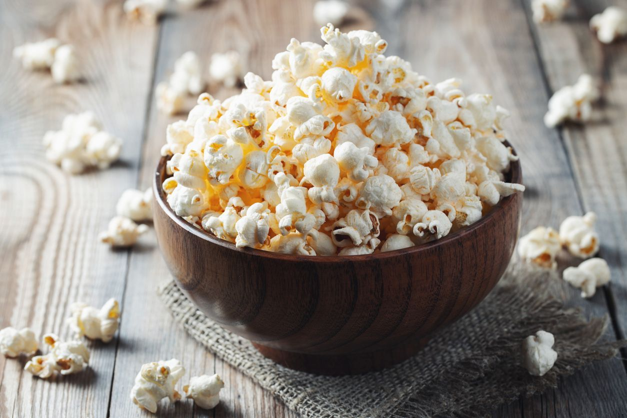 Food photography closeup photo of popcorn in cooked a pan