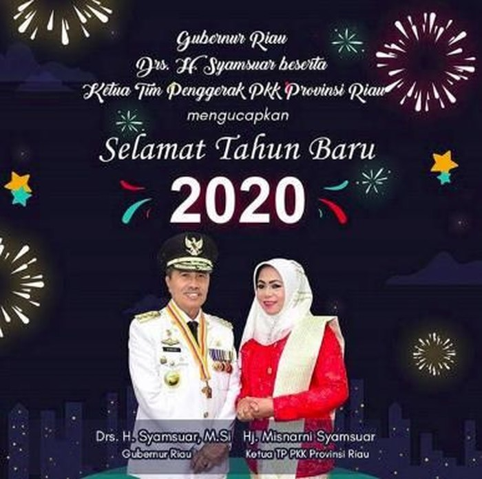 Kembang Api Di Ucapan Selamat Tahun Baru Gubernur Riau Jadi Sorotan