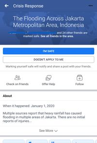 Facebook Bikin Fitur Safety Check untuk Banjir Jabodetabek