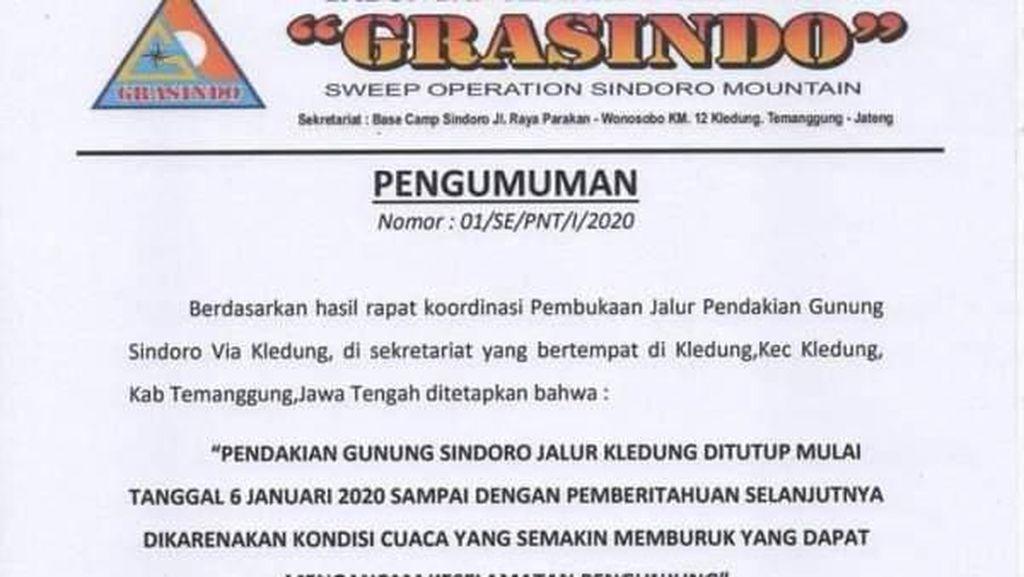 Jalur Pendakian Gunung Sindoro via Kledung Temanggung Ditutup 6 Januari