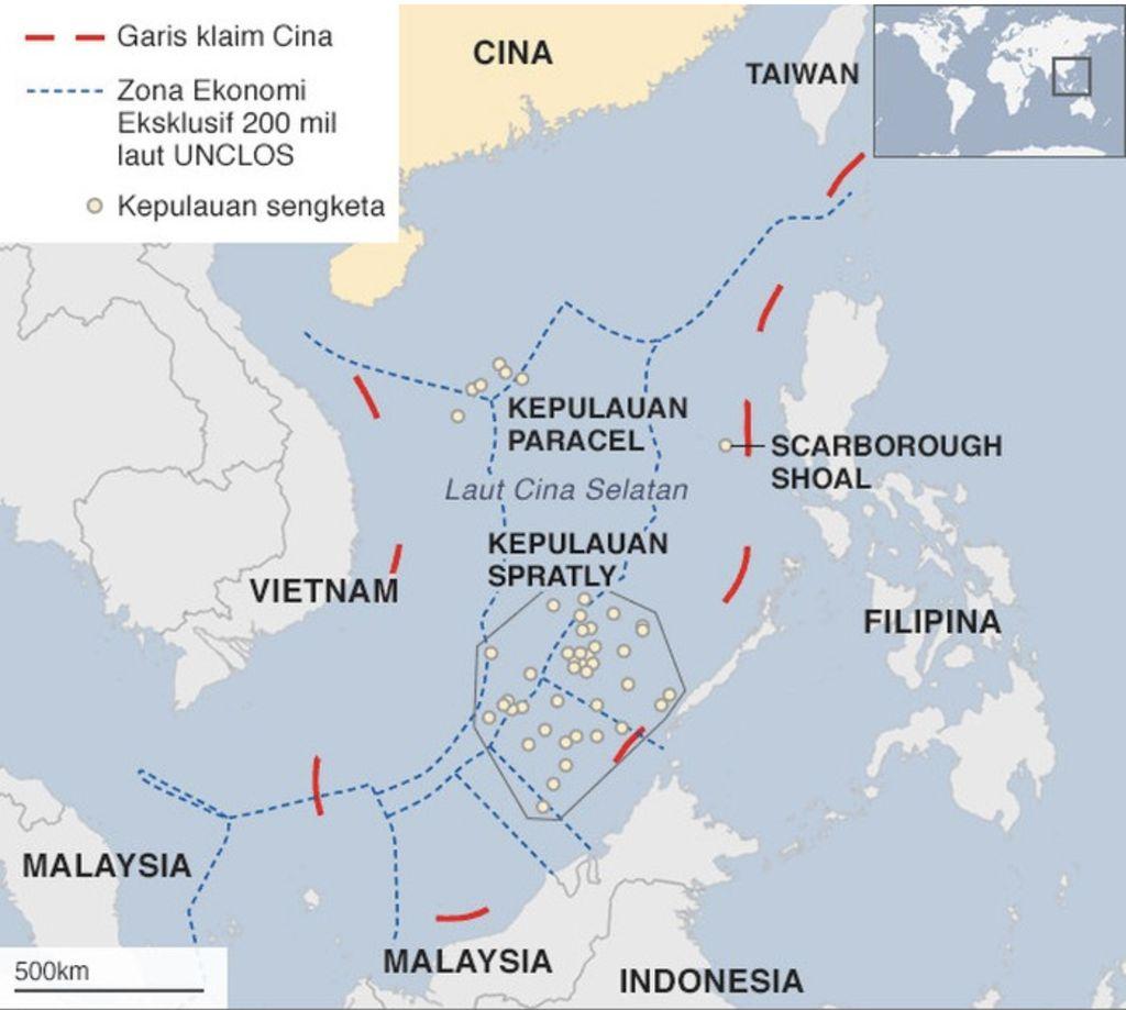 Laut China Selatan. (Foto: BBC/UNCLOS/CIA)