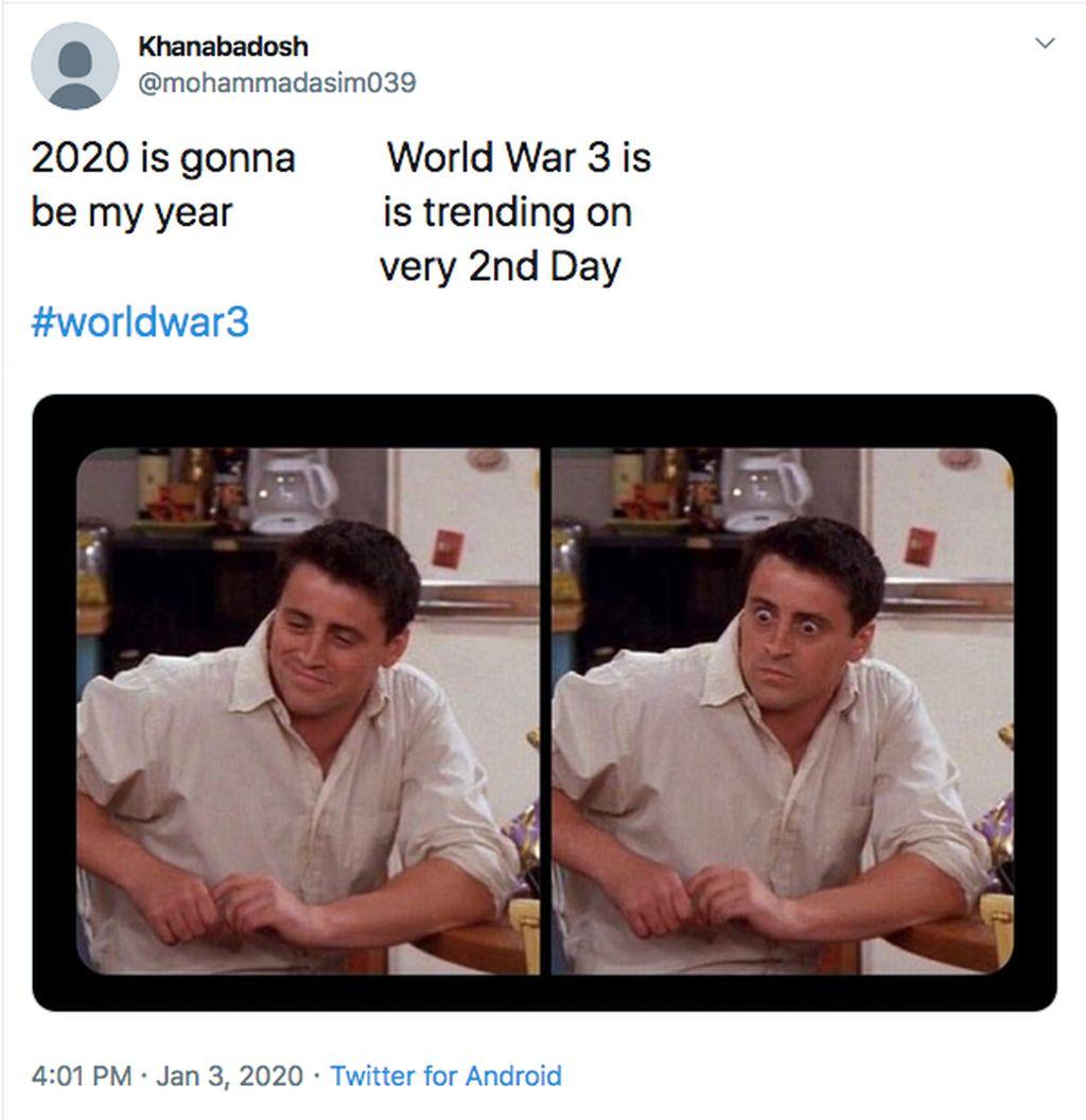 World War 3 jadi trending di Twitter mengagetkan banyak orang di awal tahun 2020 (Twitter)
