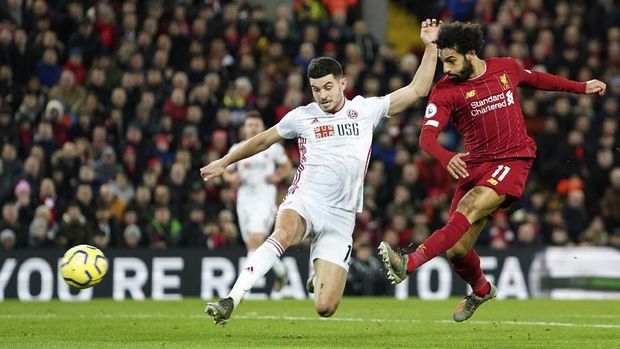 Mohamed Salah cetak gol pertama Liverpool ke gawang Sheffield United. (